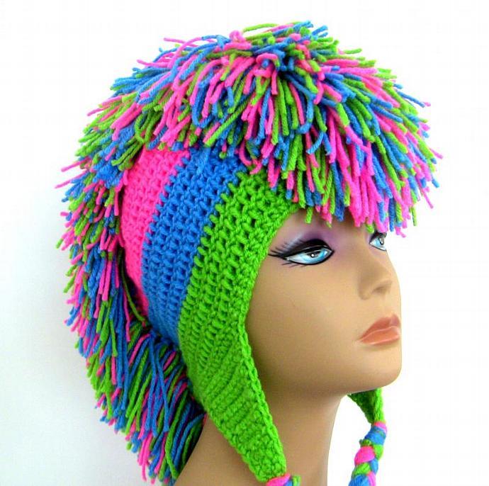 Mohawk Crochet Hat Pink Blue Green By Unexpectedtreasure On Zibbet