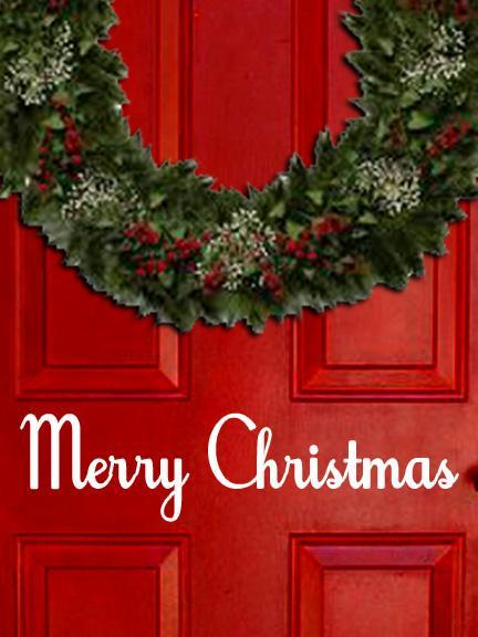 Old Fashioned Merry Christmasl Vinyl Decal Sticker for Front Door, Windows