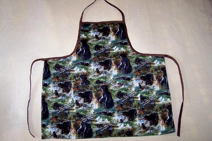 Adult apron, Northwoods Bear cotton fabric apron, kitchen accessory, bib apron,