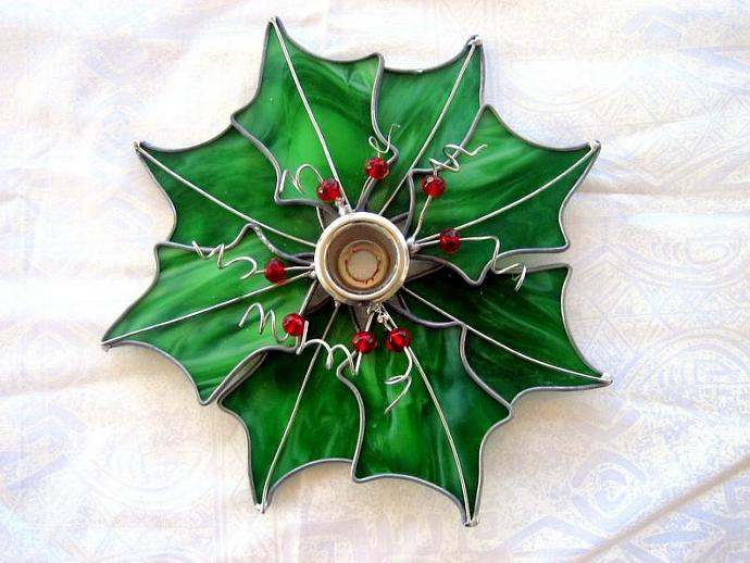 Stained Glass Holly Wreath Candle Holder, Stained Glass Wreath Candle Holder