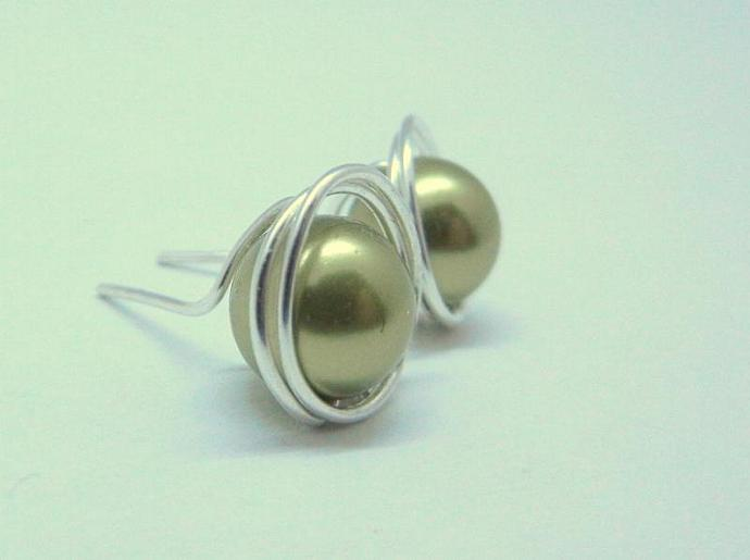 Green Swarovski Earrings, Pearl & Sterling Silver Wrapped Stud Earrings,