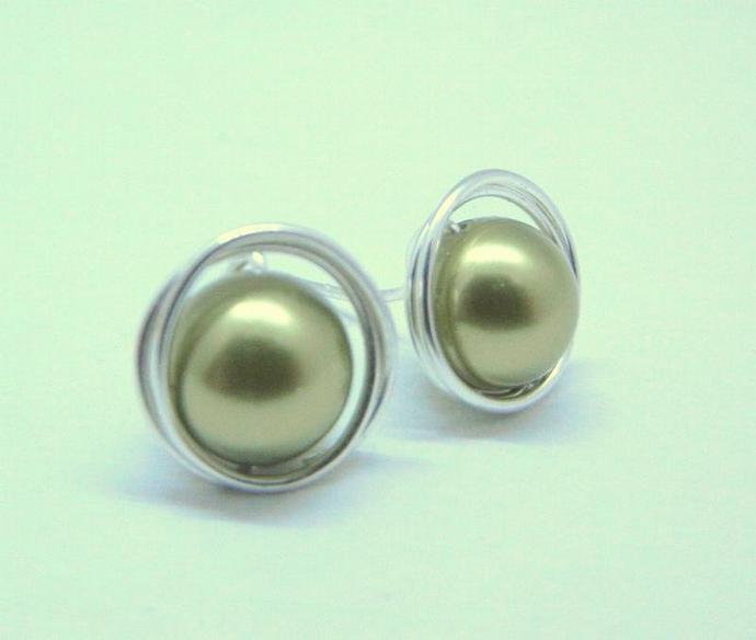 Green Swarovski Earrings, Pearl & Sterling Silver Wrapped Stud Earrings,