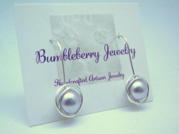 Lavender Swarovski Earrings, Pearl & Sterling Silver Wrapped Dangle Earrings,