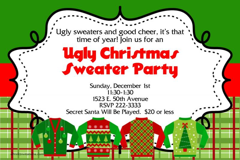 a ugly sweater christmas party by uprintinvitations on zibbet - Ugly Christmas Sweater Invitations