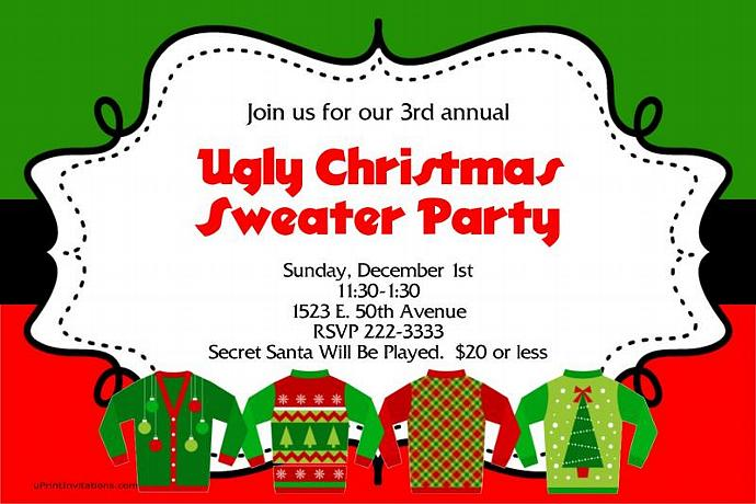 A Ugly Sweater Christmas Party Invitations ALL COLORS TONS OF PATTERNS (Download