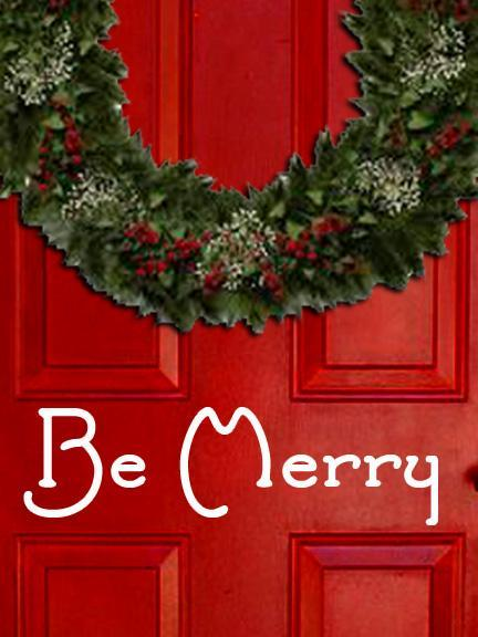 Be Merry in Old Fashioned Font Vinyl Decal Sticker for Front Door, Windows