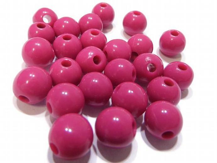 25 10mm Round Pink Bubblegum Beads