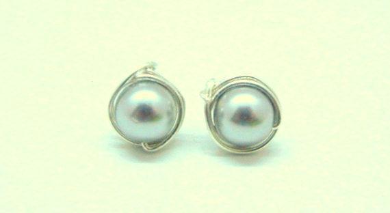Swarovski Earrings, Light Gray Pearls & Sterling Silver Wrapped Stud Earrings,