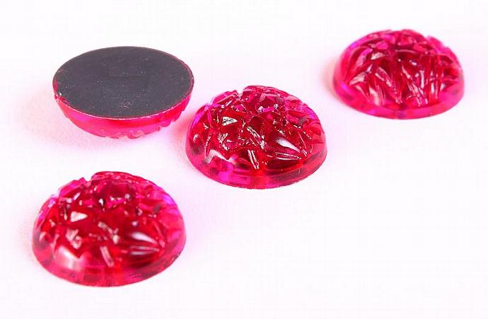 15mm Hot pink acrylic baroque Jewels with Silver Foil cabochon cab - 4 pieces