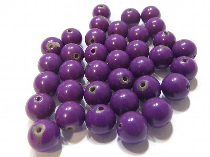 Round Purple Vintage Lucite Beads