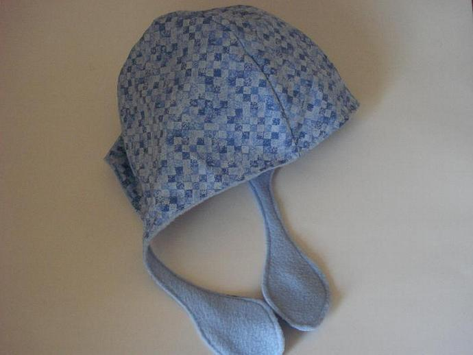 Variegated Blue Checks, Cap, Hat, Fleece Lined