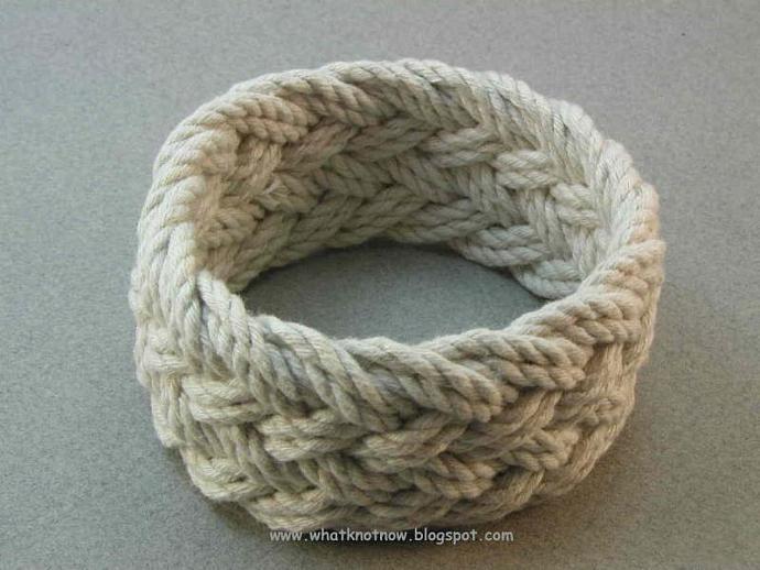 ecru herringbone weave rope bracelet knotted bracelet sailor knot bracelet 3170