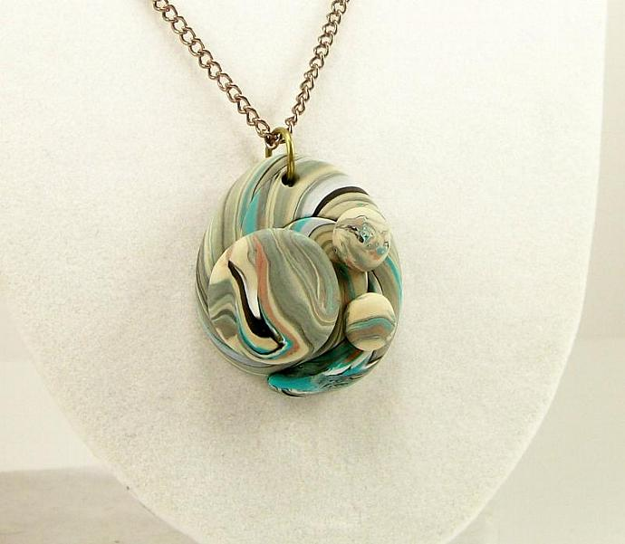 Geometric Wearable Art Polymer Clay Necklace