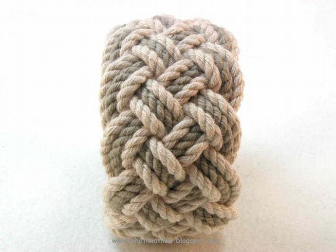 walnut and olive rope bracelet nautical knot turks head bracelet 3149