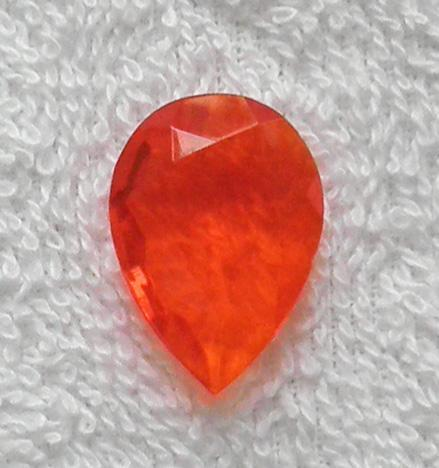 Old W. German faceted bright orange pear shape glass stone S41