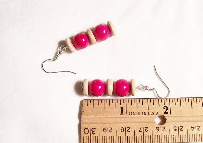 Rose Pink Gemstone Beaded Earrings, Gemstone Jewelry