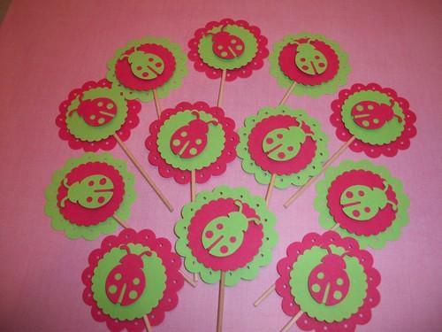 Lime Green and Hot Pink Ladybug Cupcake toppers/food picks/12ct