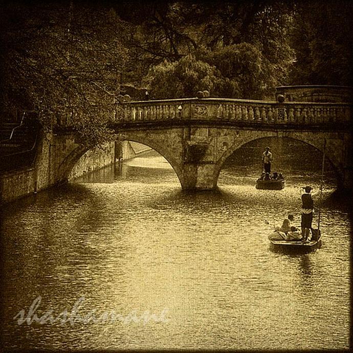 "Old Cam Punting - Cambridge river scene 5 x 5"" fine art photography print"