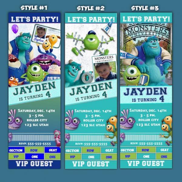 Monsters University Birthday Invitation by ekwebdesigns on Zibbet