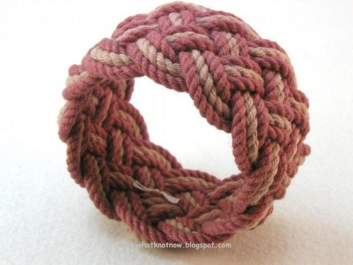 taupe and rust nautical knot rope bracelet 3153