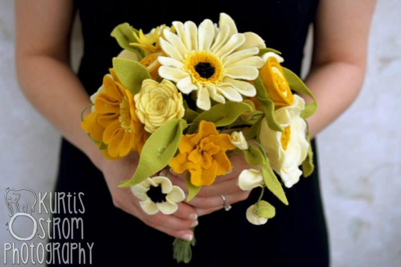 Mustard Yellow Felt Flower Bridal Bouquet by thefeltflorist on Zibbet
