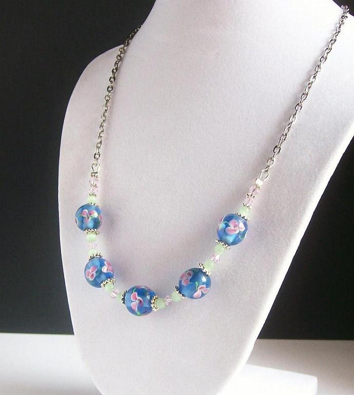 Floral Lampwork Beaded Necklace, Pink and Blue