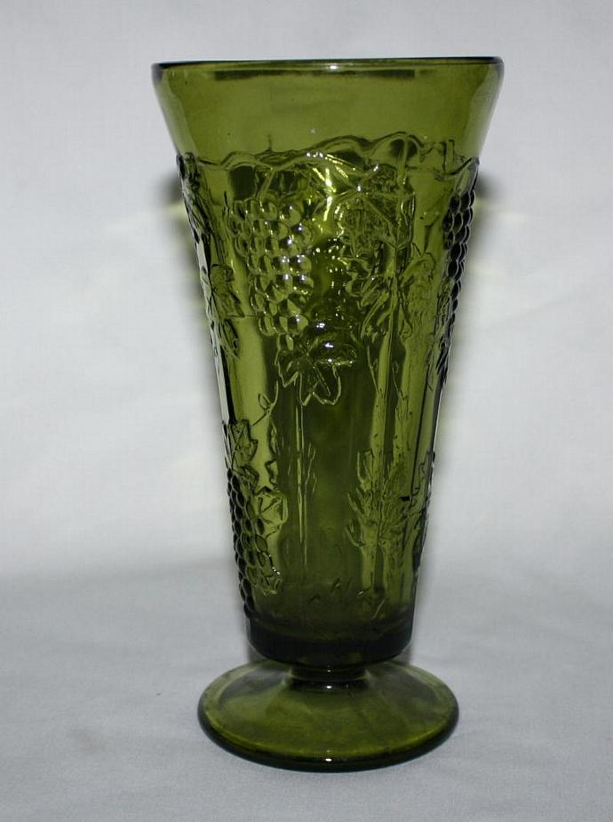 Vintage Green Glass Footed Vase Colony By Vintagelady On Zibbet