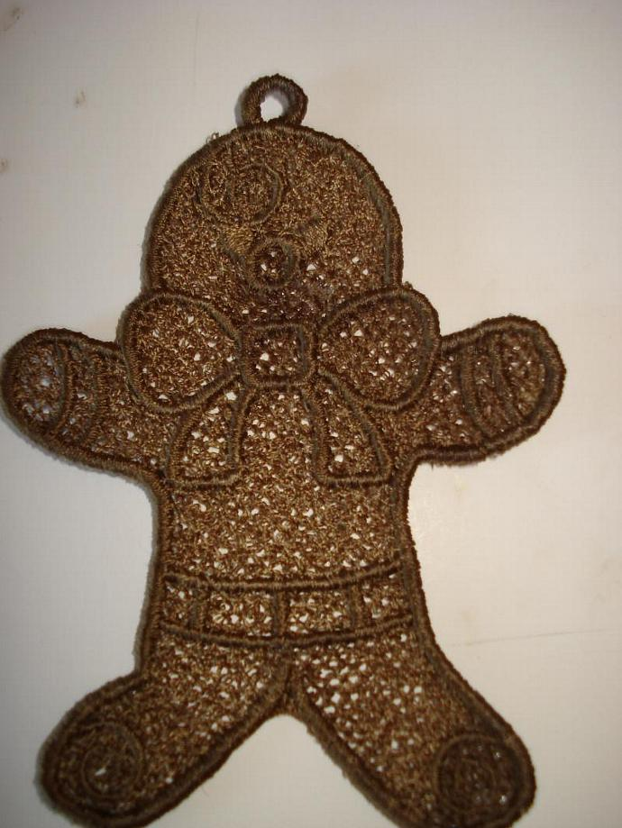 Gingerbread Man Free Standing Lace (FSL) Ornament