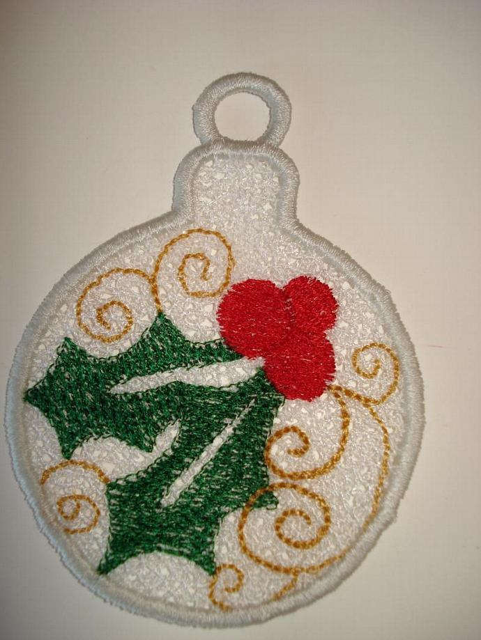 Holly Free Standing Lace (FSL) Ornament