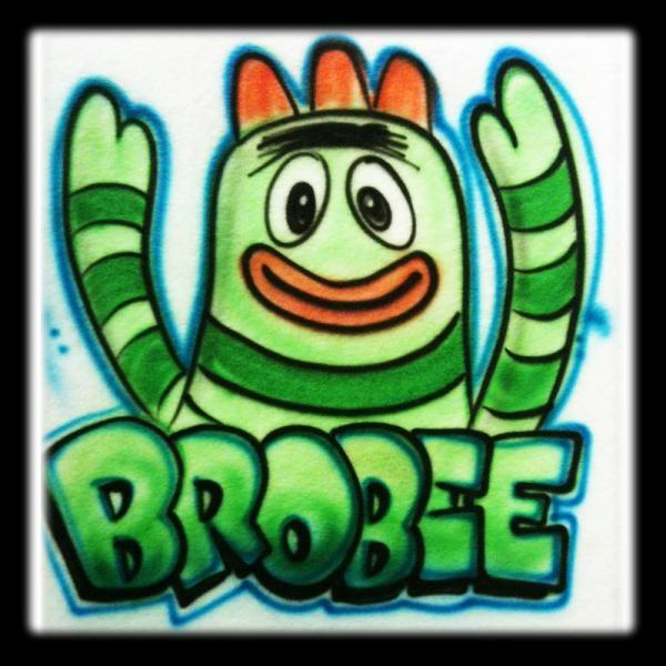 Nick jr inspired Yo Gabba Gabba Brobee airbrushed tshirt