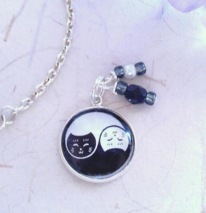 Yin Yang Cats in Black and White Charm