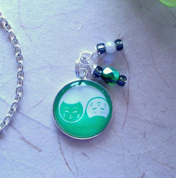 Yin Yang Cats in Green and White Charm