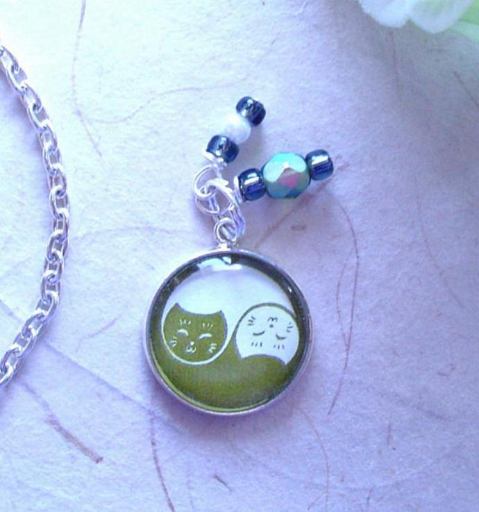 Yin Yang Cats in Olive Green and White Charm