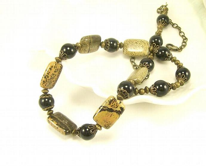 Landscape Stone Beaded Necklace, Natural Black & Brown Necklace, Handmade