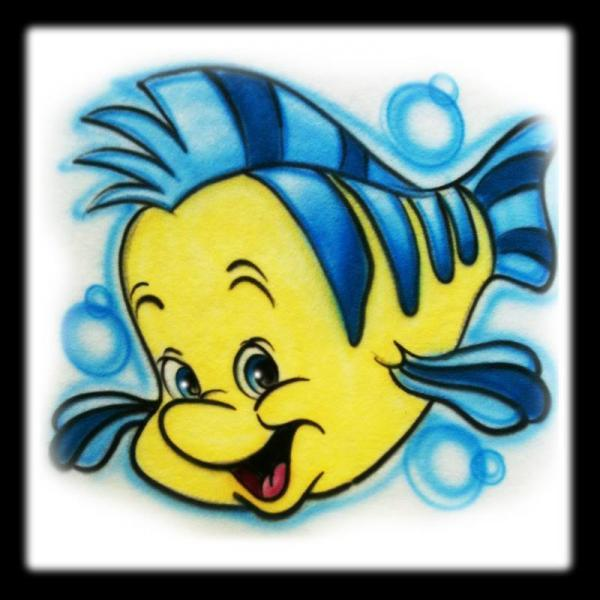 Disney Inspired Flounder from Nemo Airbrushed Shirt