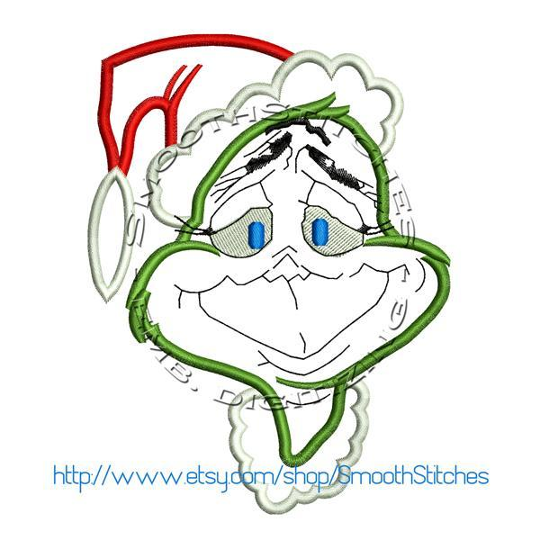Grinch Christmas Applique Design for Embroidery Machines - Instant Download