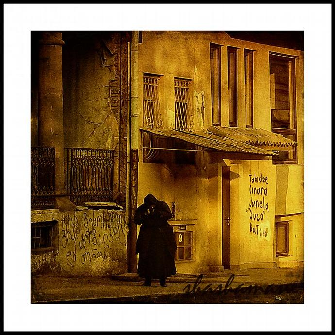 "Time - 5 x 7"" square fine art photography print, old lady of Tbilisi, Georgia"