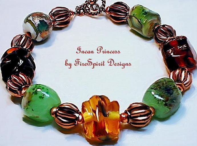 Incan Princess-  lampwork beaded bracelet