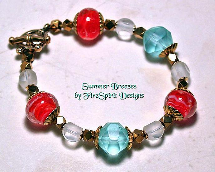 Summer Breezes- lampwork beaded bracelet