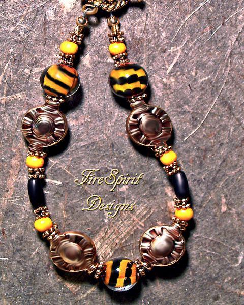 Tiger Baby- lampwork beaded bracelet