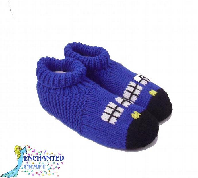 Knitted TarDIS Slippers with cuff inspired by Dr Who