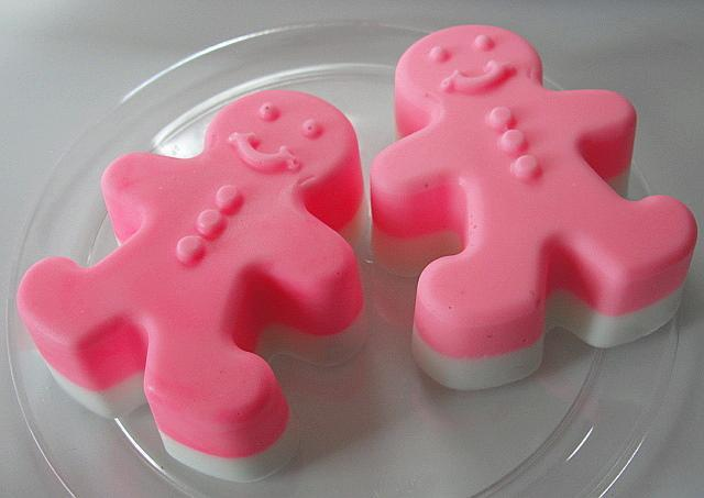 HOT Pink Gingerbread Couple-Layered--White Chocolate--Choice of Peppermint or