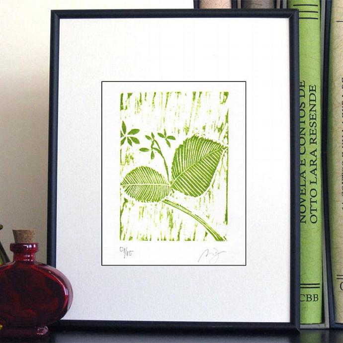 Woodblock Print WILDFLOWER Leaves Botanical Woodcut Print Original Relief Hand