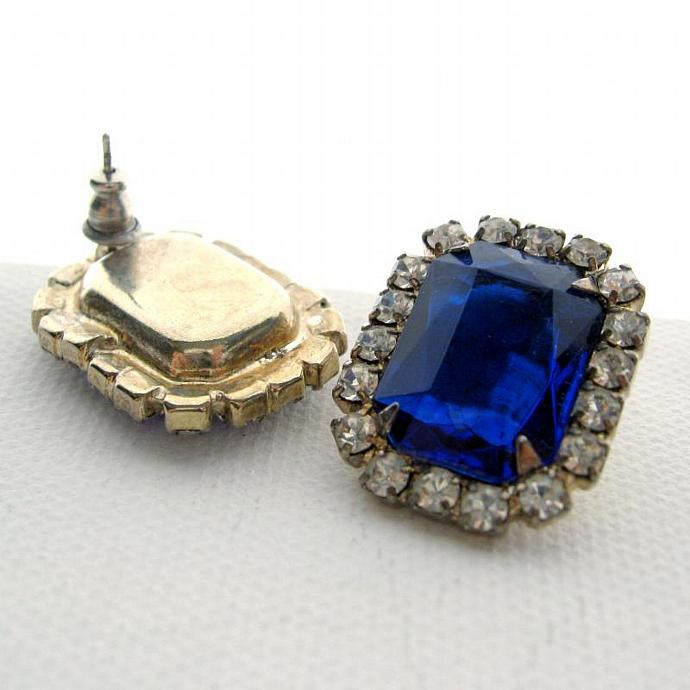 Large Sapphire Blue Facet Rhinestone Earrings Estate Style