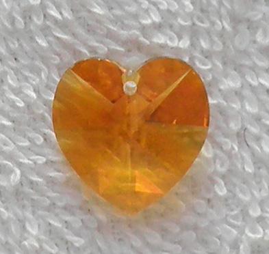 Swarovski Article 6202 crystal 18 mm. heart pendant bead in Topaz SW38