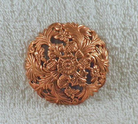 Red brass large round flowered filigree dapped heavy finding 1 ea. S4