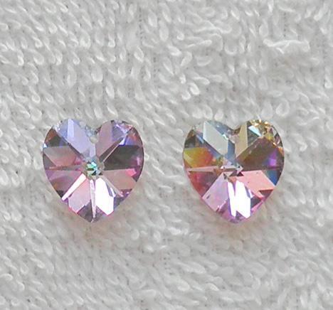 2 Swarovski Article 6202 heart pendants 14mm. vitrail light SW43