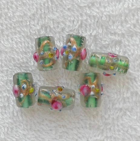 15 mm. old green gold and pink flower glass lampwork tube beads S95