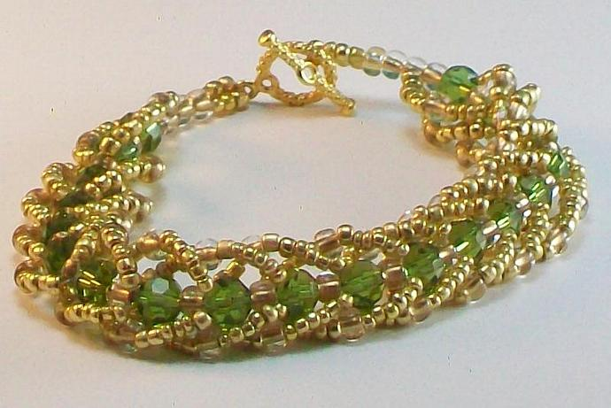 Gold & Green Beadwork Bracelet