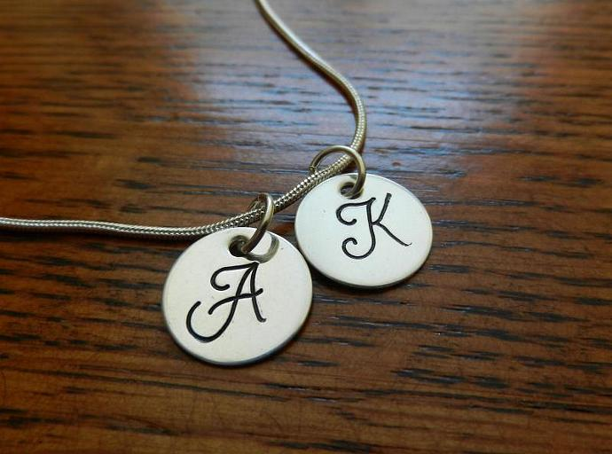 "Monogram Pendants - Set of 2 Hand Stamped - 1/2"" Sterling Silver"